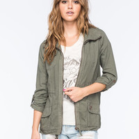 Ashley Linen Womens Anorak Jacket Olive  In Sizes