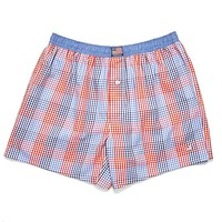 Hanover Gingham Boxers in Navy & Red by Southern Marsh