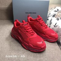 Red Balenciaga Triple-S Sneaker Casual Shoes Clunky Sneakers
