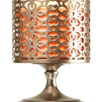 3-Wick Candle Sleeve Tall Brushed Champagne Tile Pedestal
