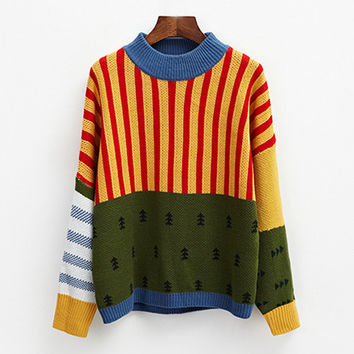 Multi Striped Christmas Tree Casual Sweater