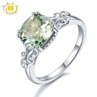 Hutang Silver Wedding Ring Natural Gemstone Green Amethyst Solid 925 Sterling Crystal Fine Fashion Stone Jewelry For Women Gift