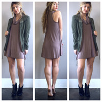 A Drape Neck Shift in Taupe