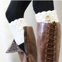 Boot cuff, Boot cuffs, boot topper, boot socks cuff, boot liners,knitted, crochet, handmade, knit, leg warmer, BOOTIE CUTIE cream crochet boot topper w/ button | CC1
