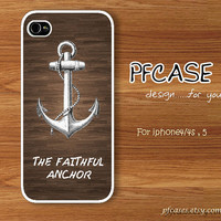 The faithful anchor on the great wood pattern : Handmade Case for Iphone 4/4s , Iphone 5