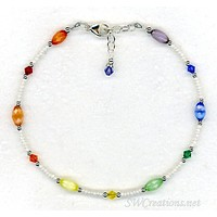 Rainbow Cats Eye Crystal Beaded Anklet