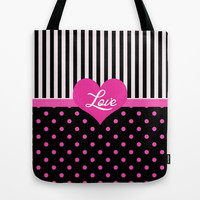 lovely, cool pink and black polka dots, black strips, love graphic pattern. Tote Bag by PatternWorld