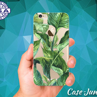 Palm Tree Leaves Tropical Green Summer Tumblr iPhone 5 iPhone 5C iPhone 6 iPhone 6 + iPhone 6s iPhone 6s Plus iPhone SE iPhone 7 Clear Case