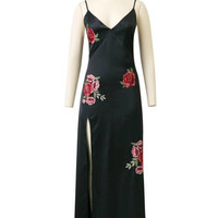 Sexy Red Rose Flower 3D Appliques Embroidery Side Slit Dress Vintage Woman Print Flower Spaghetti Strap Long Dresses Black