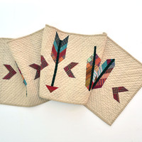 Quilted Table Runner, Table Decor, Arrow Table Decor, Feather Wall Hanging, Southwestern Table Runner