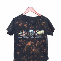 Black NYC Tshirt with Acid Splatters + Brass Studs.