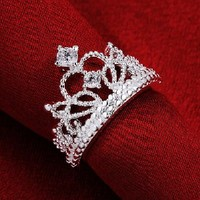 Fashion Beautiful Jewelry New 925 Silver Crystal Princess Crown Fine Ring(O)