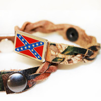 Camo Rebel Flag Braided Bracelet