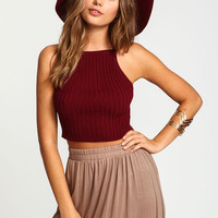 BURGUNDY KNIT RIB CROP TOP