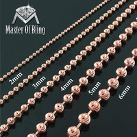 "Rose Gold Finish Moon Cut Necklace Sterling Silver 16""-40"" Mens 2mm-6mm"