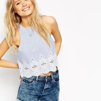 ASOS Blue Chambray Broderie Shell Top