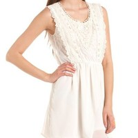 Crochet Top Chiffon A-Line Dress: Charlotte Russe