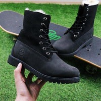 PEAPUX5 Timberland Authentics Waterproof Fold Down Shearling Black Mid Boots Outdoor Sneaker
