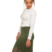Perfect Match Fringe Skirt - Olive