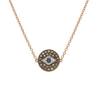 Diamond Evil Eye Medalion Necklace