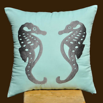 Sea Horse Pillow Cover Gray Sea Horse on Blue Pillow by KainKain