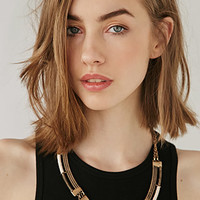 Cord-Wrapped Curve Statement Necklace