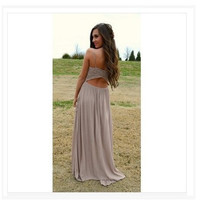 Chiffon Prom Dress Summer Sexy V-neck Sleeveless Lace One Piece [9324663492]
