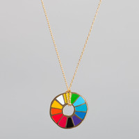 Yellow Owl Workshop Color Wheel Cloisonne Pendant at Velocity Art And Design