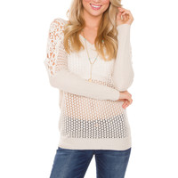 Jamie Lace Sweater - Ivory