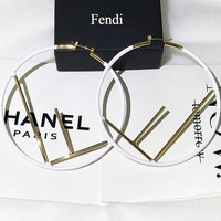Fendi New fashion letter circle long earring women White
