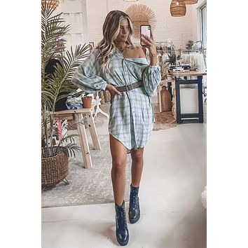 What It Is Pistachio Oversized Plaid Hoodie Dress