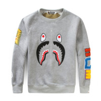 Bape Aape New fashion shark tiger print couple long sleeve top sweater Gray