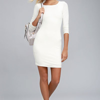 Peak of Chic White Long Sleeve Bodycon Dress