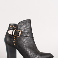 Snake Studded Pointy Toe Ankle Bootie
