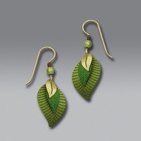 Adajio Earrings - Three-Part Green and Brass Leaves
