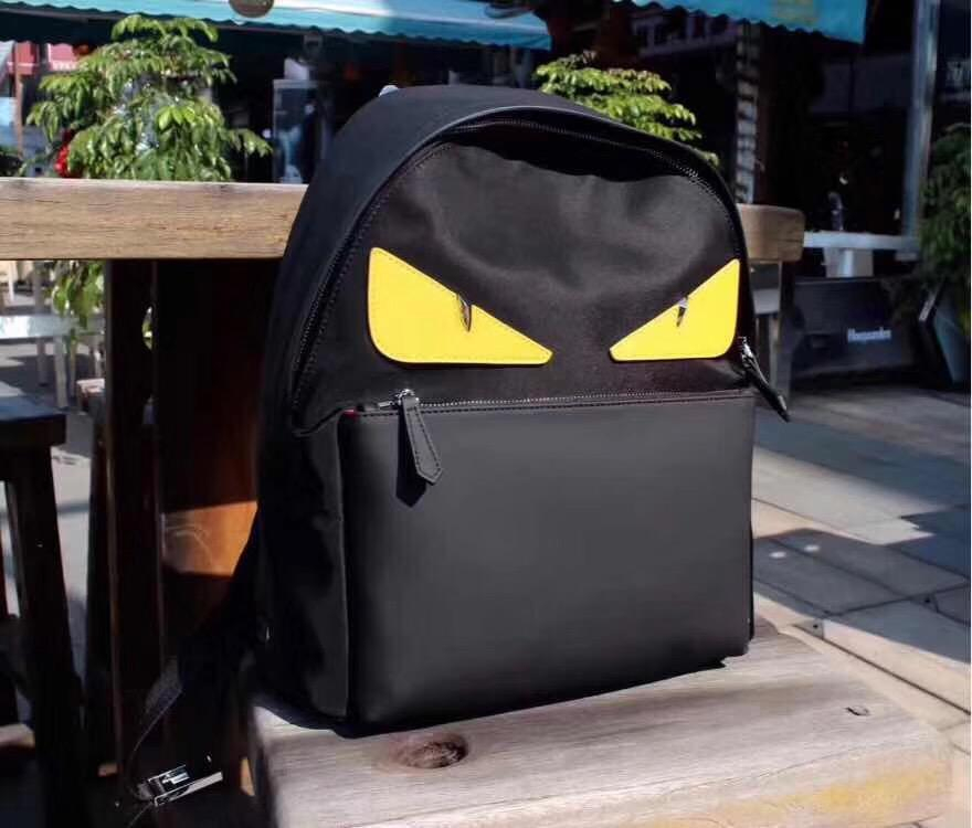 Image of FENDI MEN'S NEW STYLE CLOTH AND LEATHER BACKPACK BAG