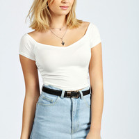 Mia V Neck Bardot Crop Top