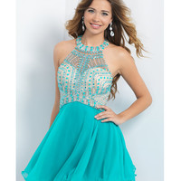 Preorder - Intrigue by Blush INT94 Sea Green Jeweled Halter Dress 2015 Homecoming Dresses
