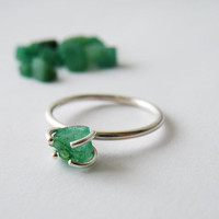 Raw Green Emerald Ring May Birthstone Stacking Ring Rough Uncut Emerald Rustic Engagement Ring Sterling Silver Prong Setting by SteamyLab