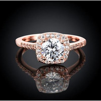 1.5 CTW Beautiful Rose Gold Plated Enagagement Ring
