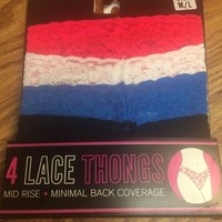 NEW 4 Pack Lace Thong Underwear M/ L Black White Blue Red Women/ Juniors