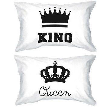 His and Hers Pillowcases King and Queen Crown Matching Couple Pillow Covers