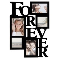 """Adeco 5-Opening Decorative Wood """"Forever"""" Collage Wall Hanging Picture Frame, One 5 by 7-Inch/ Two 4 by 6-Inch/ Two 4 by 4-Inch, Black"""