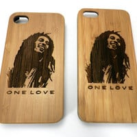 Bob Marley iPhone 4 4S One Love Case. Eco-Friendly Bamboo Wood. Reggae Rasta Tribute 420 Dreadlocks Exodus Peace. FREE SHIPPING