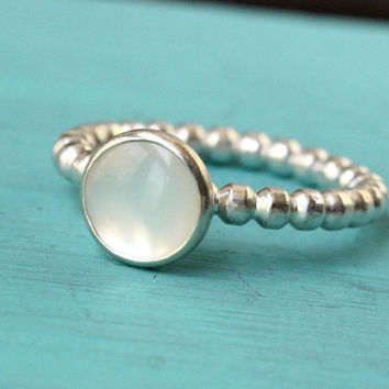 Stacking ring white mother of pearl sterling silver beaded band, stack ring, stackable, handmade, beaded, bubble, dot, bridesmaid gift