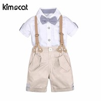 Kimocat Baby Boy Summer Clothes Boys Sets Clothing Gentleman 2pcs Shirt+Overalls Christening Formal Party Outfit Gift Clothing