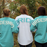 Monogrammed Ocean Blue Bridesmaid's Spirit Football Jersey
