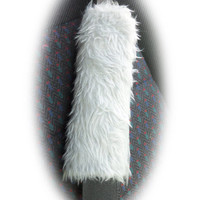 Light silver Grey faux fur furry fluffy fuzzy car seatbelt pads covers 1 pair