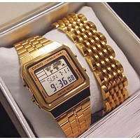 CASIO Trending Women Men Stylish Business Watch Little Golden Wrist Wrist I13556-1