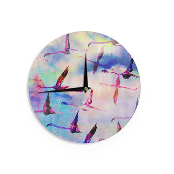 "Nikki Strange ""Flamingo in Flight"" Wall Clock"